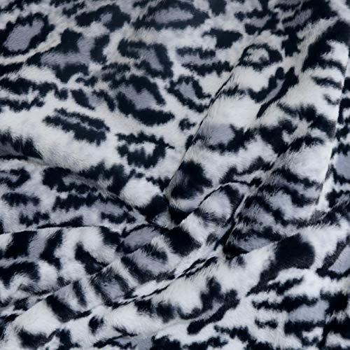 TOLKO 50cm Schnee-Leopard Kunstfell   kuschelig weiches Fellimitat mit 1cm Florhöhe   Teddy Plüschstoff Webpelz   zum Nähen, Dekorieren und Basteln   Meterware am Stück (Hell Grau Schwarz)