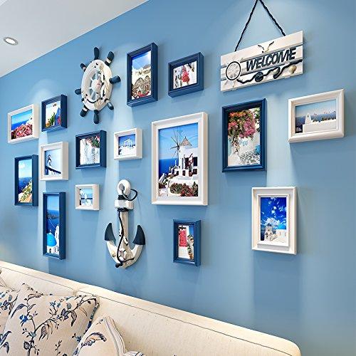 Mediterrane decoratieve muurschilderijen in de woonkamer poster wandafbeeldingen op het restaurant gelakt Afmetingen 197 * 95 cm, 18e dikke plaat DassWit Blauw combinatie