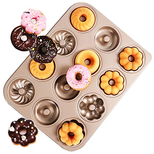 iprotech Donut Pan For Baking, 12 Cavity Non-Stick Carbon Steel Cake Bagel Baking Doughnut Mold For Oven Baking (1-Pack 3 Shapes)