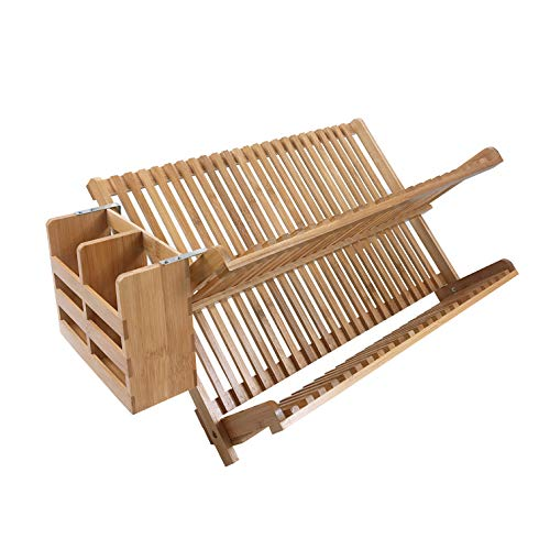 woodluv Bamboo Dish Drying Rack Folding 2-Tier Drainer Dish Drying Rack WITH Utensils Holder Set