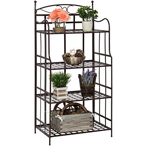 Best Choice Products 4-Tier Indoor/Outdoor Bakers Rack Storage Organizer - Brown