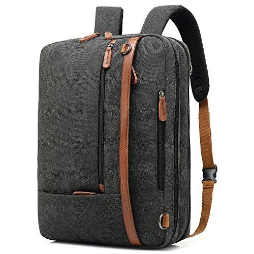 CoolBELL umwandelbar Aktentasche Rucksack Messenger Bag 17,3 Zoll Laptoptasche Herren Business Umhängetasche Mehrzweck Arbeitastasche Reisen Backpack Notebook Schultertasche(Canvas Schwarz)