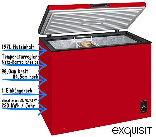 Exquisit Gefriertruhe Rot | 4-Sterne Gefrierraum | 197 Liter Nutzinhalt | Temperaturregelung & Herausnehmbarer Hängekorb | EEK A+ | Rollen Rechts für leichtes Umstellen & Höhenverstellbare Füße Links