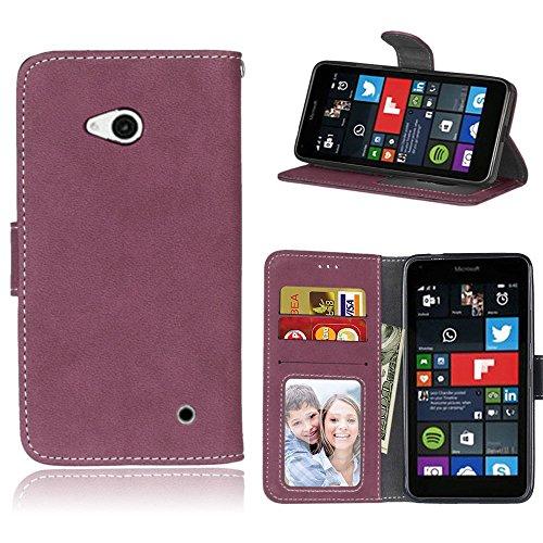 pinlu Hohe Qualität Retro Scrub PU Leder Etui Schutzhülle Für Microsoft Lumia 640 Dual-SIM Lederhülle Flip Cover Brieftasche Mit Stand Function Innenschlitzen Design Rose Red