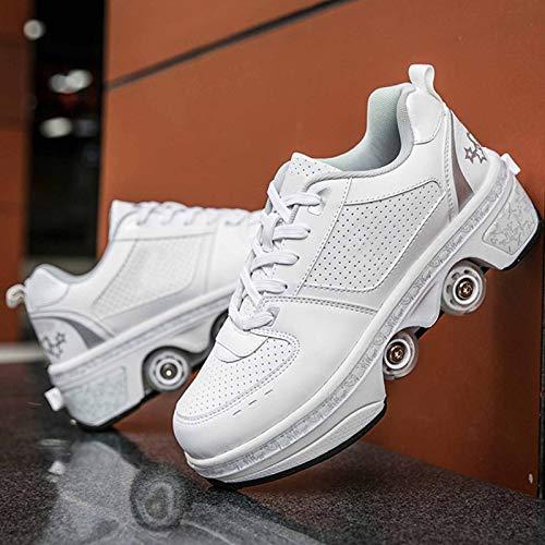 Dytxe Schuhe Mit Rollen Skateboardschuhe, Inline-Skate, 2-In-1-Mehrzweckschuhe, Verstellbare Quad-Rollschuh-Stiefel Für Erwachsene Kinder