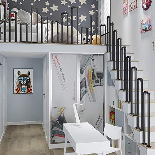 Delili Black Matte Industrial Stair Banister Handrail, U-Shaped Galvanized Pipe, Floor-Mounted Installation Kit for Apartment Villa Hotel Loft,35cm(13.8in)