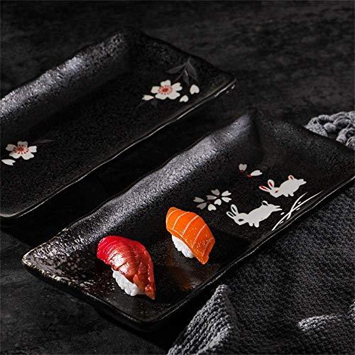 L.BAN Ustensiles de Cuisine/Vaisselle/Extérieur/Camping Vaisselle Style et Vent Assiette rectangulaire en céramique Noire Assiette à Sushi Plateau à vin Plat à Sashimi Plat à Sashimi Assiett