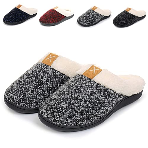 Slippers for Women Memory Foam House Slipper with Warm Plush Fleece lined, Slip on Home Shoes Wear in Bedroom Rubber Sole Outdoor/Indoor Arch Support