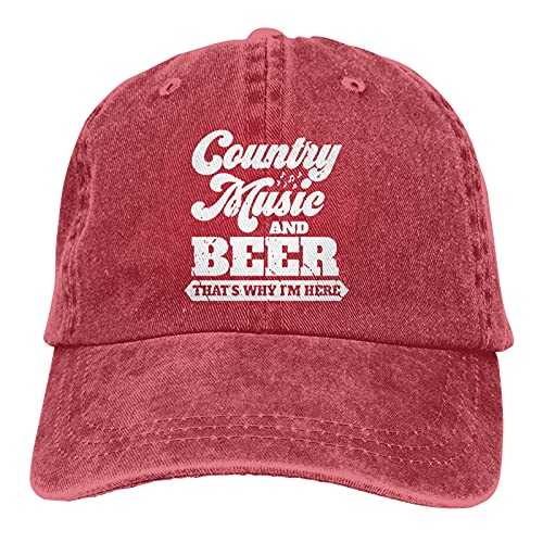 Jopath Country Music & Beer Thats Why Im Here-5 - Gorra de béisbol ajustable para hombre y mujer, color negro