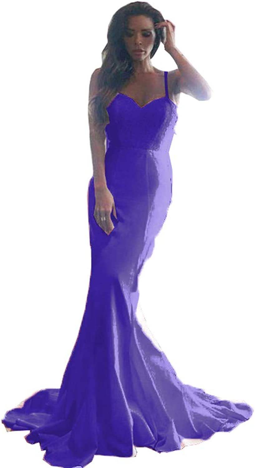 MariRobe Women's Mermaid Evening Dresses Bridesmaid Dress Sequin Backless Formal Party Dress Prom Gown