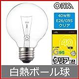 白熱ボール電球 40W E26 G95 クリア LB-G9638K-C 06-0545
