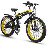 XXCY X26 1000w Bicicleta Híbrida Eléctrica 26 Pulgadas Fat Bike 48v 12.8ah Moto De Nieve Plegable Ebike (Amarillo)