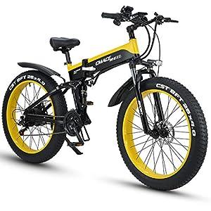 immagine di XXCY X26 Bici Elettrica Ibrida Elettrica 26w Bici Fat 26 Pollici Bici Elettrica 48v 12.8ah Motoslitta Pieghevole (Giallo)