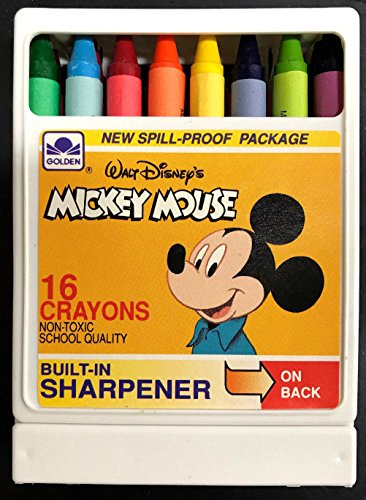 Mickey Mouse Vintage 16 Crayons w/Built-in Sharpener Disney / Golden Books