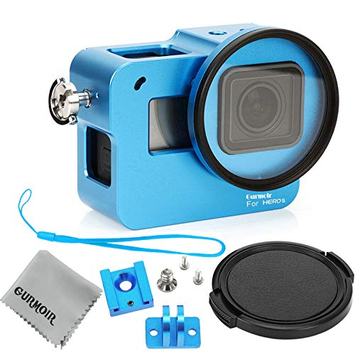 Gurmoir Aluminum Alloy Housing Case for Gopro Hero 5/Gopro Hero (2018) Action Camera (with Rear Door)(Blue), Protective Metal Skeleton Cage with 52 mm Filter Provides Better Protection for Gopro