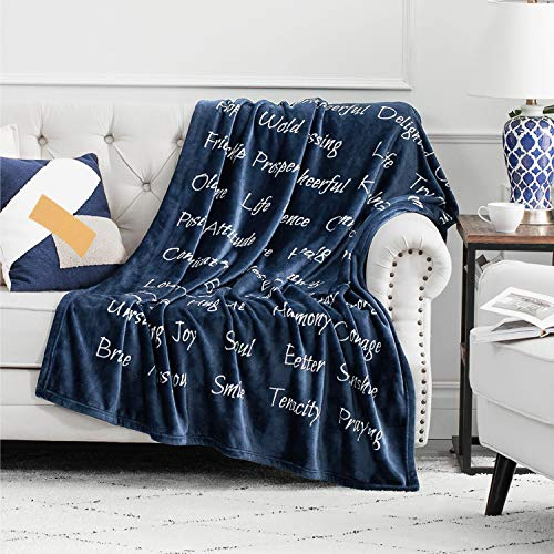 Bedsure Healing Thoughts Throw Blanket - Super Soft Flannel Fleece Blanket with Inspirational Positive Energy Healing Thoughts - Perfect Caring Blanket for Women, Men and Cancer Patients (Navy)