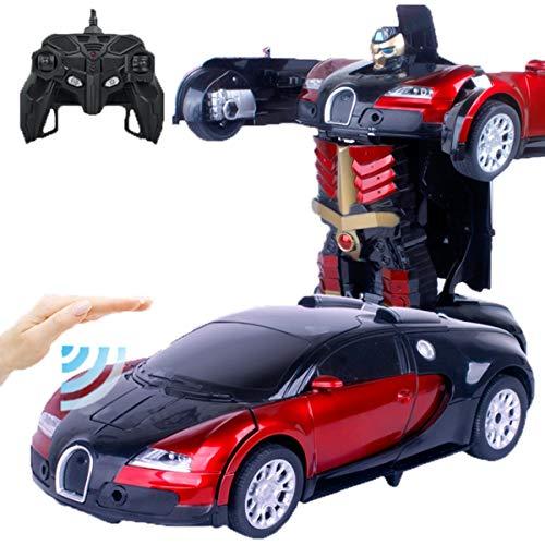 SKAJOWID Ferngesteuertes Auto, Bugatti RC Transformations-Roboterauto, One-Touch-Transformation, Ferngesteuerte Action-Verformungsfigur, Modellauto Mit Formwandel, Geburtstagsgeschenk Für Kinder,Rot