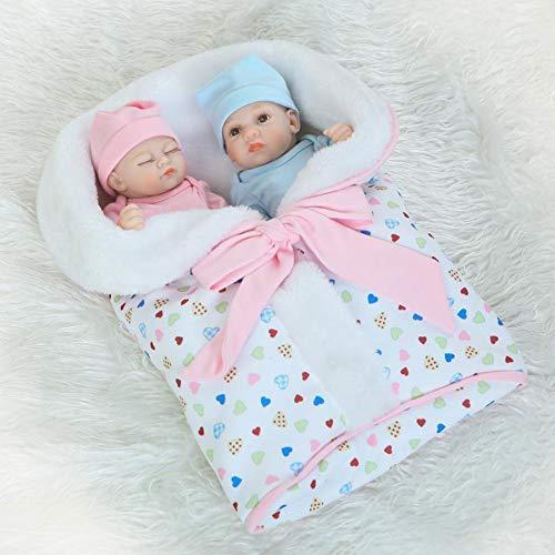 HUJUNG Muñecas Realistas Reborn, Muñeca Soft Silicone Vinyl Twins, Muñeca Durmiente recién Nacida de 10 Pulgadas, Adecuado para niños Mayores de 3 años
