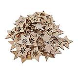 FLAMEER 50 Stück Holz Sternformen Schneeflocke Holzscheiben Tischdekoration Holz Deko Basteln Weihnachtsdeko - natürlich, 30 mm - 2