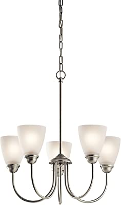 Kichler 43638NI, Jolie Glass 1 Tier Chandelier Lighting, 5 Light, 375 Watts, Brushed Nickel