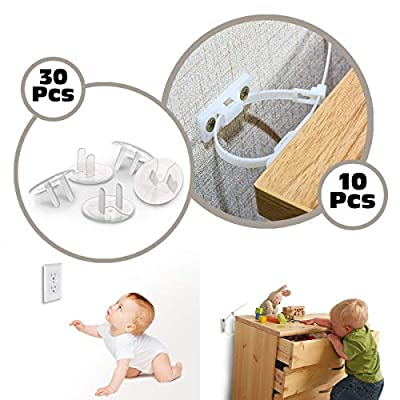 Furniture Straps (10 Pack) with Outlet Plug Covers (30 Pack) Baby Proofing Anti Tip Furniture Anchors Kit Clear Child Proof Electrical Protector Safety Caps (10 Pack+30 Pack)