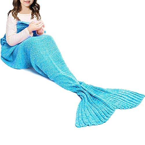 JR.WHITE Mermaid Tail Blanket Kids, Hand Crochet Snuggle Mermaid,All Seasons Seatail Sleeping Bag Blanket