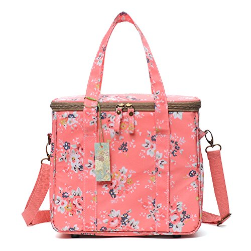 wonderful flower lunch bags for women insulated fashionable zipper Tote Bag (Peach/Floral-GL)