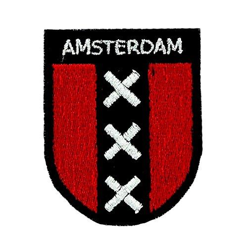 Patch/Aufnäher bestickt, Flagge Amsterdam, zum Aufbügeln, Souvenir