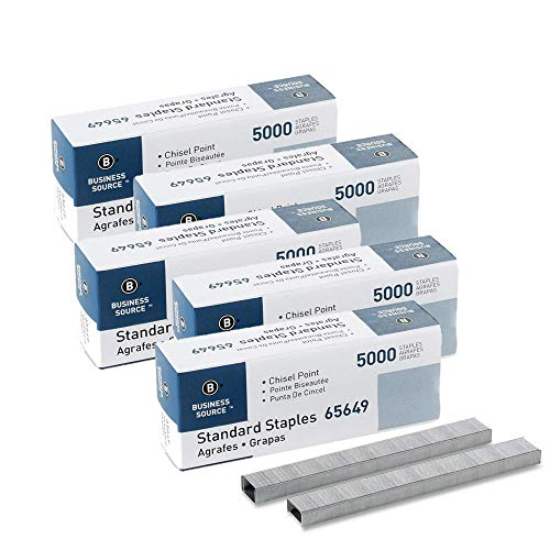Business Source Chisel Point Standard Staples - Box of 5000 (65649) - 5 Pack