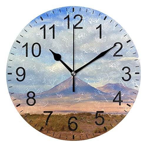 SENNSEE Reloj de pared con paisaje de volcán de Chile decor