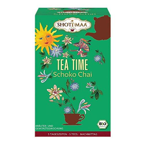 6 x Shoti Maa Bio Tee 5 Tageszeiten | Tea Time | Schoko Chai | Gewürz- und Kräutertee | Ayurveda Tee | 6 x 16 Teebeutel (96 Teebeutel)