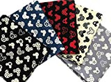 Disney Mickey Ears Mickey Mouse Heads Cartoon 100% Cotton in Different Color Quilting Fabric for Patchwork Needlework DIY Handmade Sewing Crafting Precut Face Mask 18x22 Inches (Set of 5 Pieces)
