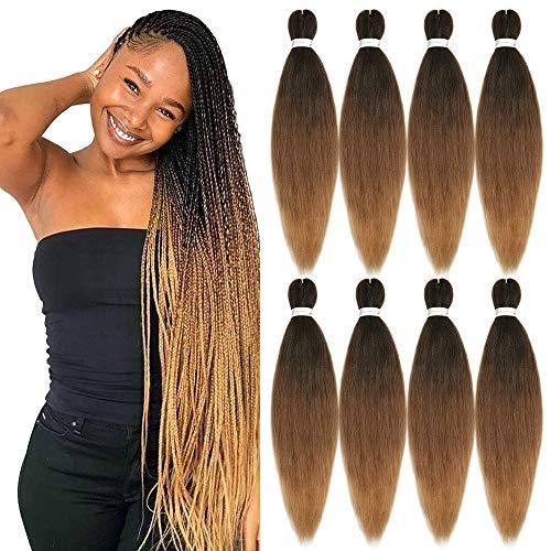 YMHPRIDE Perm di capelli intrecciati Yaki professionale pre-stirato 8 pezzi 26 Acqua calda libera di capelli intrecciati a bassa temperatura in fibra sintetica(nero marrone marrone chiaro)