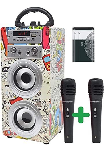 DYNASONIC - Altavoz Bluetooth Portatil Karaoke con Micrófonos Incluidos   Lector USB y SD, Radio FM Modelo 025 (Batería Pack 025-2)