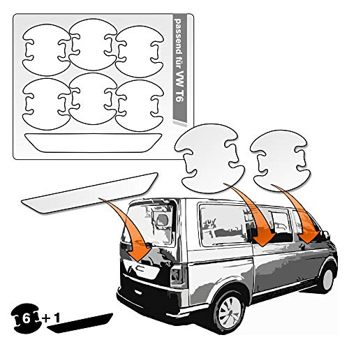 Lackschutzshop - transparente Lackschutzfolie 7er Set 100% passend für Modell Siehe Beschreibung, Schutzfolie Griffmulde Heckklappe Türgriffe und Griffschale (V_TVISet)