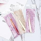 BXU-BG Paquete de 100 pinzas de pestañas postizas rizador aplicador de pestañas de visón, logotipo personalizado, etiqueta privada, herramientas de maquillaje de acero inoxidable (color 100 piezas)