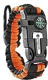 aZengear Bracelet de Paracorde et Survie pour Homme Femme - Militaire Kit avec Allume-feu - Boussole - Sifflet - Tactique Multi-Fonctionnel (Orange)