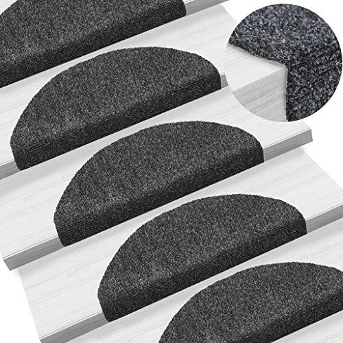 UnfadeMemory 15-TLG Selbstklebende Treppenmatten Nadelvlies Stufenmatten rutschfest Warm Treppen-Teppich Allzweck-Matte für Stufen, Sichere Treppenstufen (Dunkelgrau, 65x21x4cm)