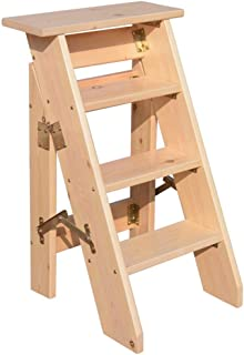 Solid Wood Household Ladder Thickening Wooden Step Ladder One Side Stairway Chair Folding 4/5/6 Steps Indoor Loft Mobile S...