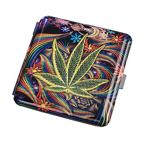 Marijuana Leaf Metal Cigarette Case Cannabis Weed Cigarette Box for 20Pcs Cigarettes