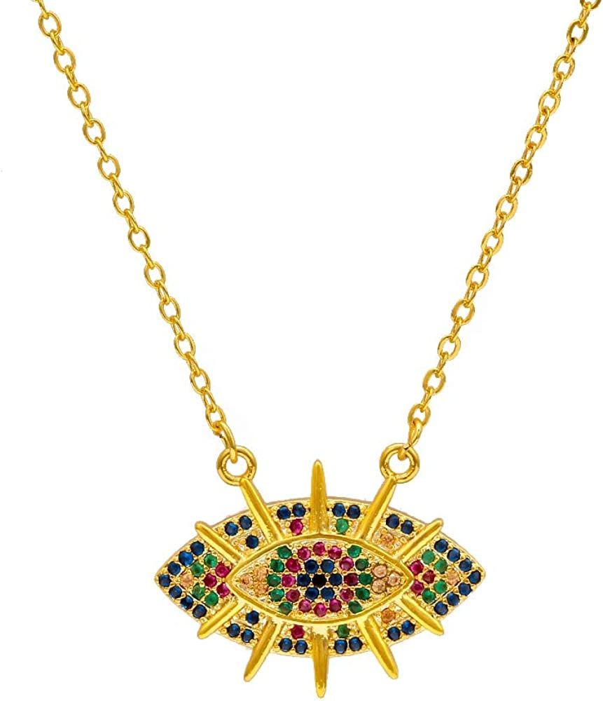 Turkish Evil Eye Cheap bargain Pendant Necklace Popular popular Gold Chain Pave Color Micro Co