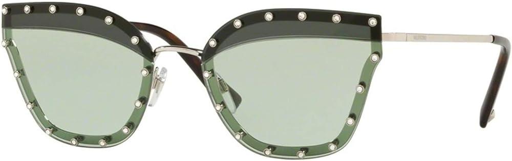 Valentino, occhiali da sole per donna, montatura in metallo con borchie, lenti verdi chiare VA2028D