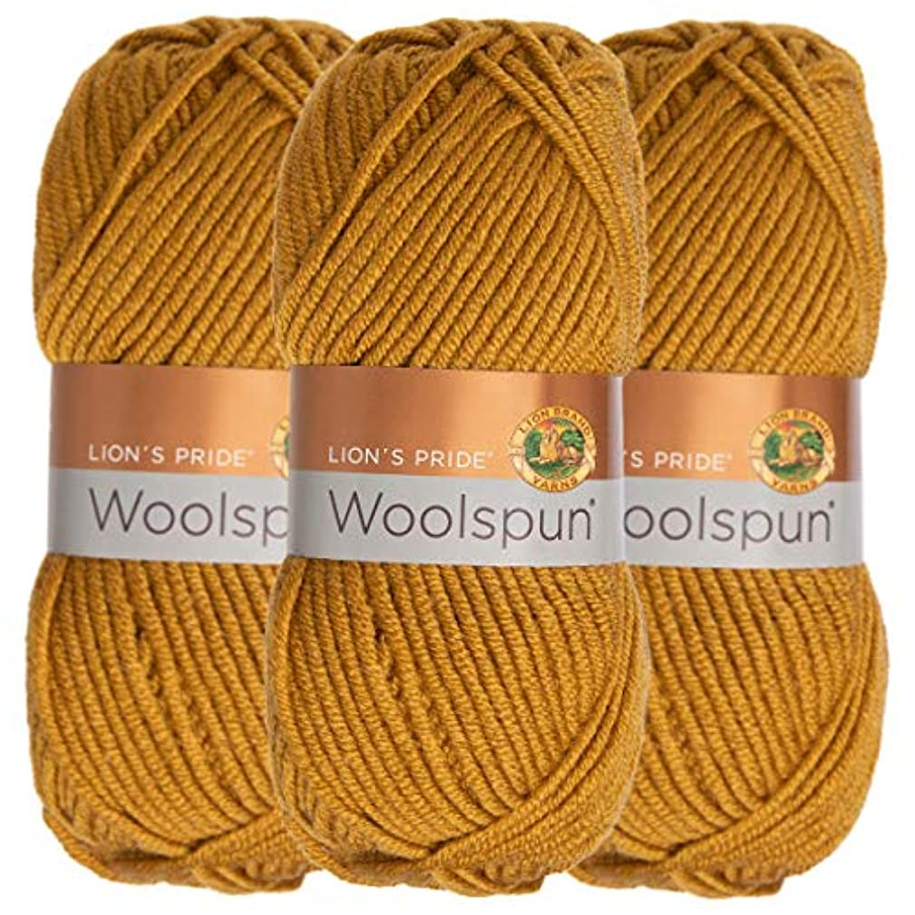 Lion Brand (3 Pack) Woolspun Acrylic & Wool Soft Honey Amber Yarn for Knitting Crocheting Bulky #5