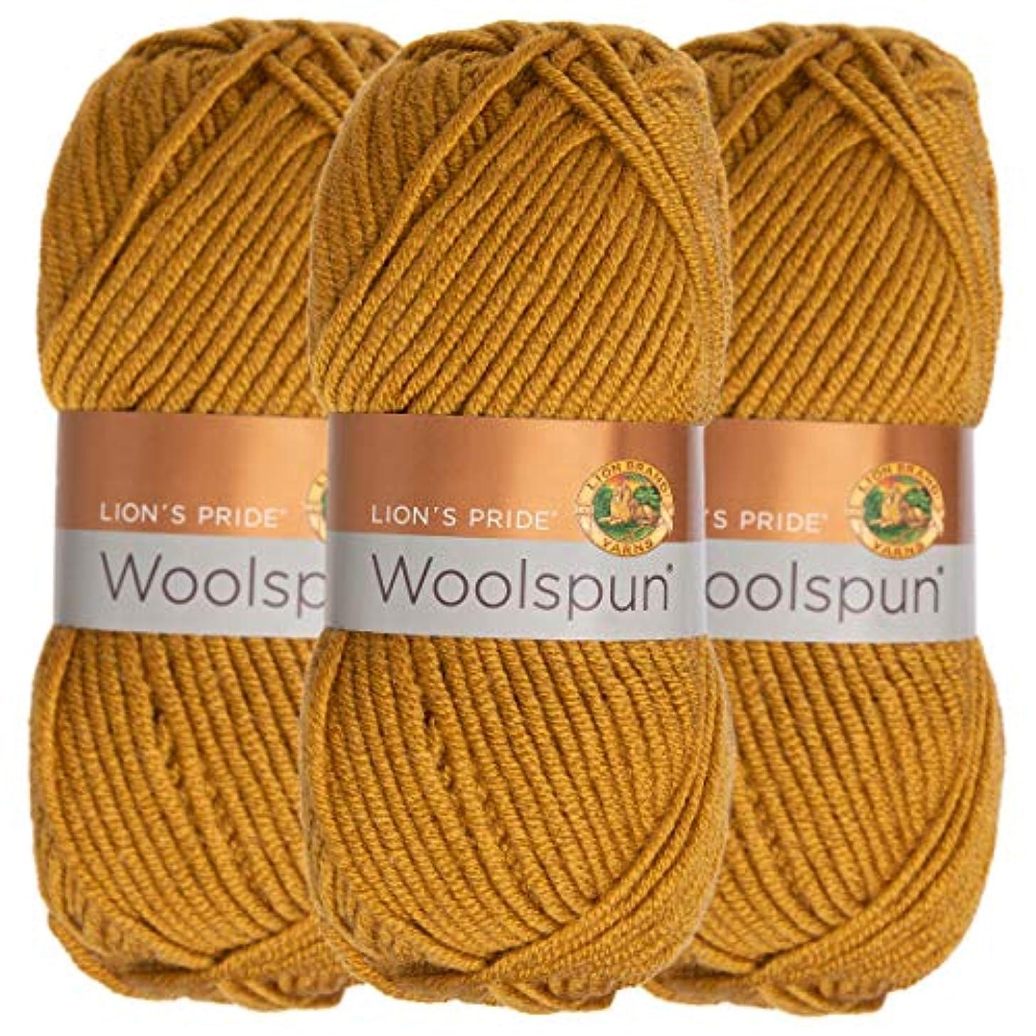 Lion Brand (3 Pack) Woolspun Acrylic & Wool Soft Honey Amber Yarn for Knitting Crocheting Bulky #5