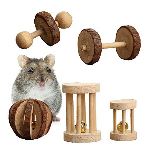 Pevor Pack of 5 Hamster Chew Toys - Natural Wooden...