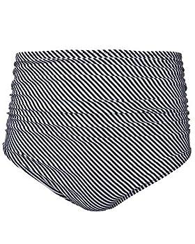 Tempt Me Women Retro High Waist Bikini Bottom Stripe Ruched Swim Brief Short M