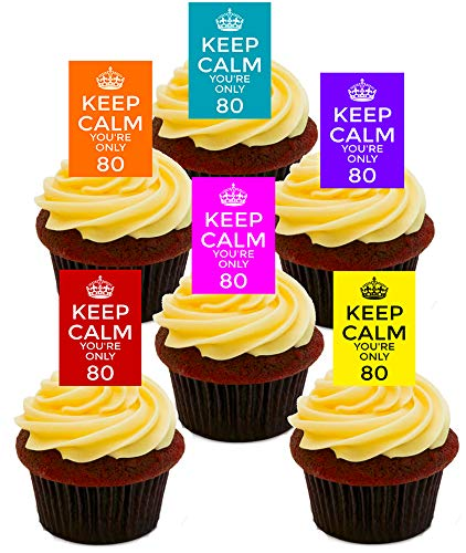 Made4You Blijf kalm Je bent slechts 80, 80e verjaardag Eetbare Cupcake Toppers - Stand-up Wafer Cake Decoraties