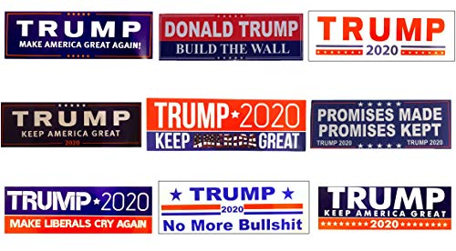 """Donald Trump Bumper Stickers - Variety Pack - 9 Count - 9""""x3"""" - All Purpose Use - Weather Proof"""