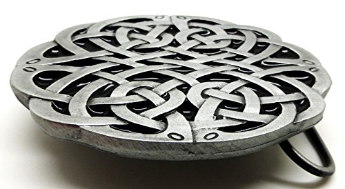 Celtic Knot Belt Buckle Grey & Black Oval Design Authentic Dragon Designs