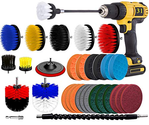 BRITOR Drill Brush Scrub Pads 31 Piece Power Scrubber Cleaning Kit, Scrub Pads & Sponge, Power Scrubber Brush with Extend Long Attachment-All Purpose Clean for Grout, Tiles, Sinks, Bathtub, Kitchen